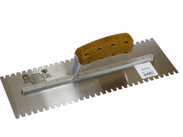Stainless Chrome Steel Finishing Trowel 8mm Notched